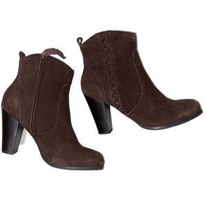 Very Volatile Brown Leather Booties braided heel